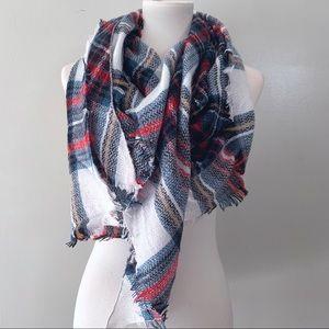 Red & Blue Tartan Plaid Triangle Blanket Scarf
